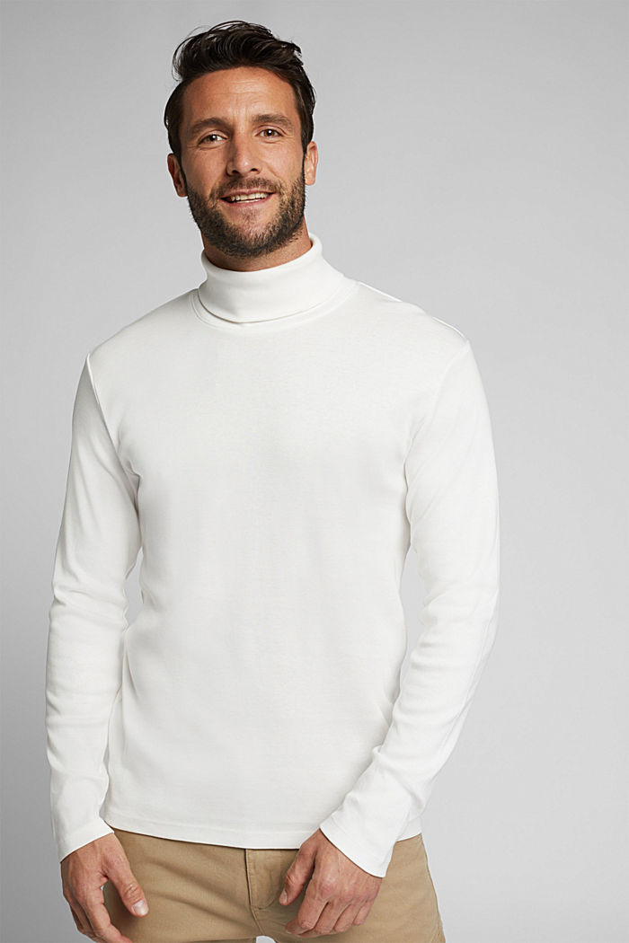 Polo neck long sleeve top, organic cotton, OFF WHITE, detail image number 0