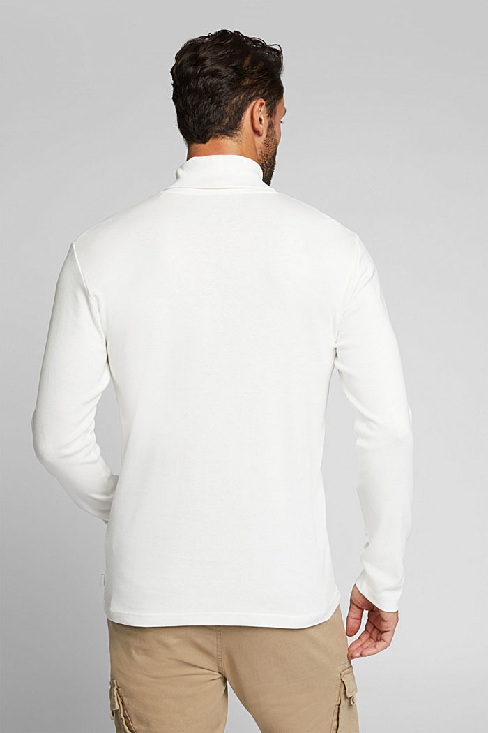Polo neck long sleeve top, organic cotton, OFF WHITE, detail image number 3