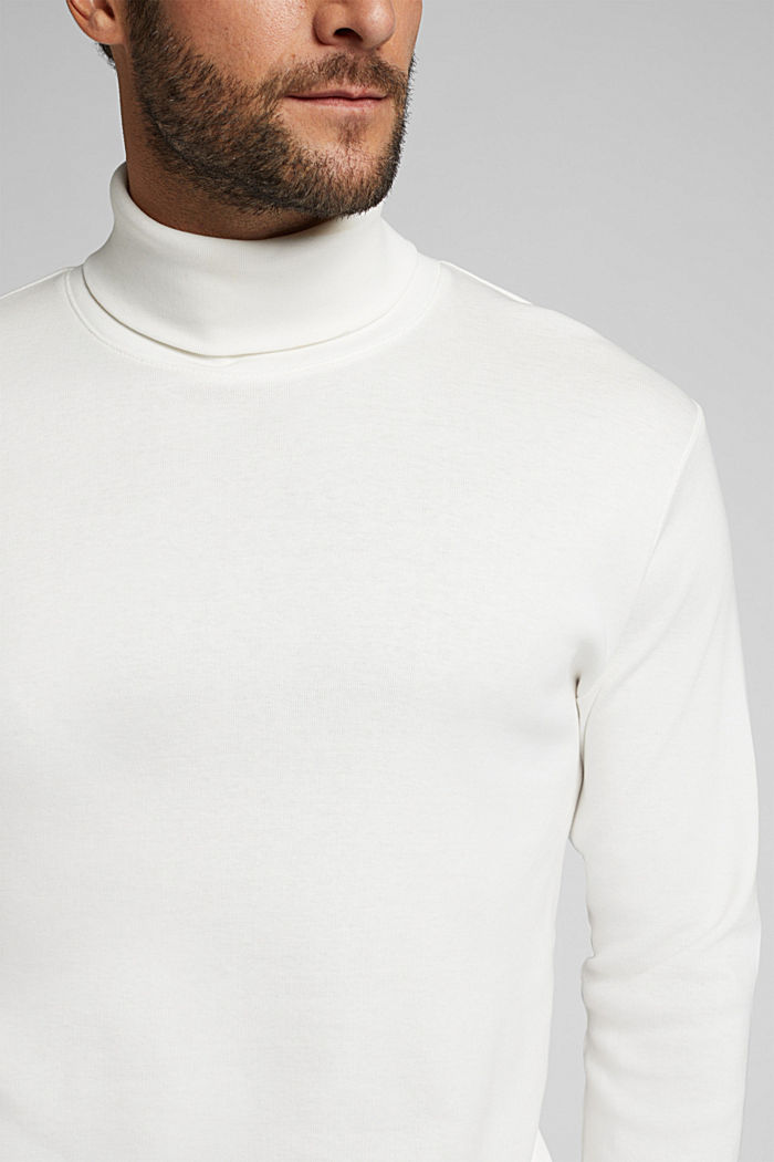 Polo neck long sleeve top, organic cotton, OFF WHITE, detail image number 1