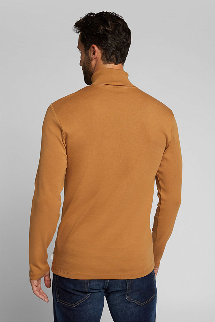 Polo neck long sleeve top, organic cotton, TOFFEE, detail image number 3
