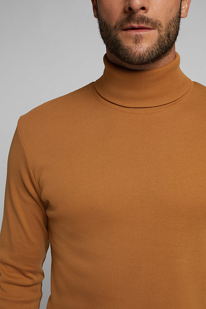 Polo neck long sleeve top, organic cotton, TOFFEE, detail image number 1