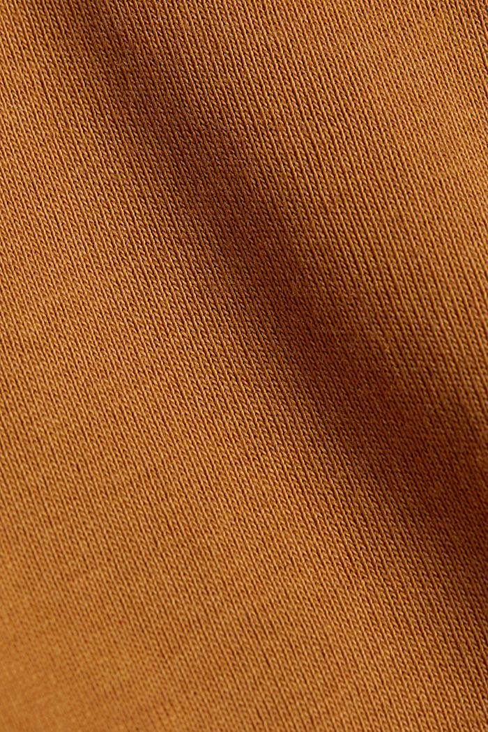Polo neck long sleeve top, organic cotton, TOFFEE, detail image number 4