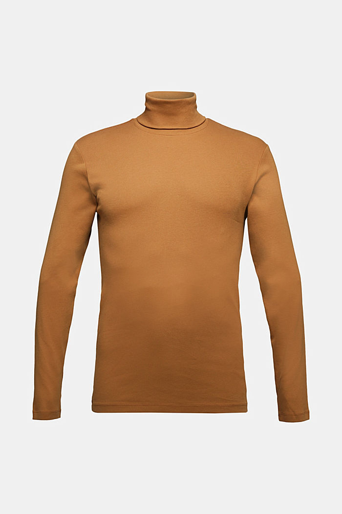 Polo neck long sleeve top, organic cotton, TOFFEE, detail image number 6