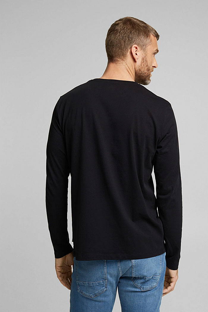 Long sleeve jersey top, 100% organic cotton, BLACK, detail image number 3