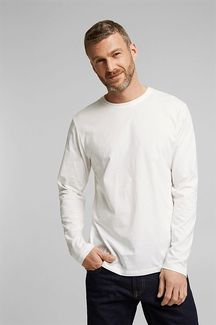 Long sleeve jersey top, 100% organic cotton, OFF WHITE, detail image number 0