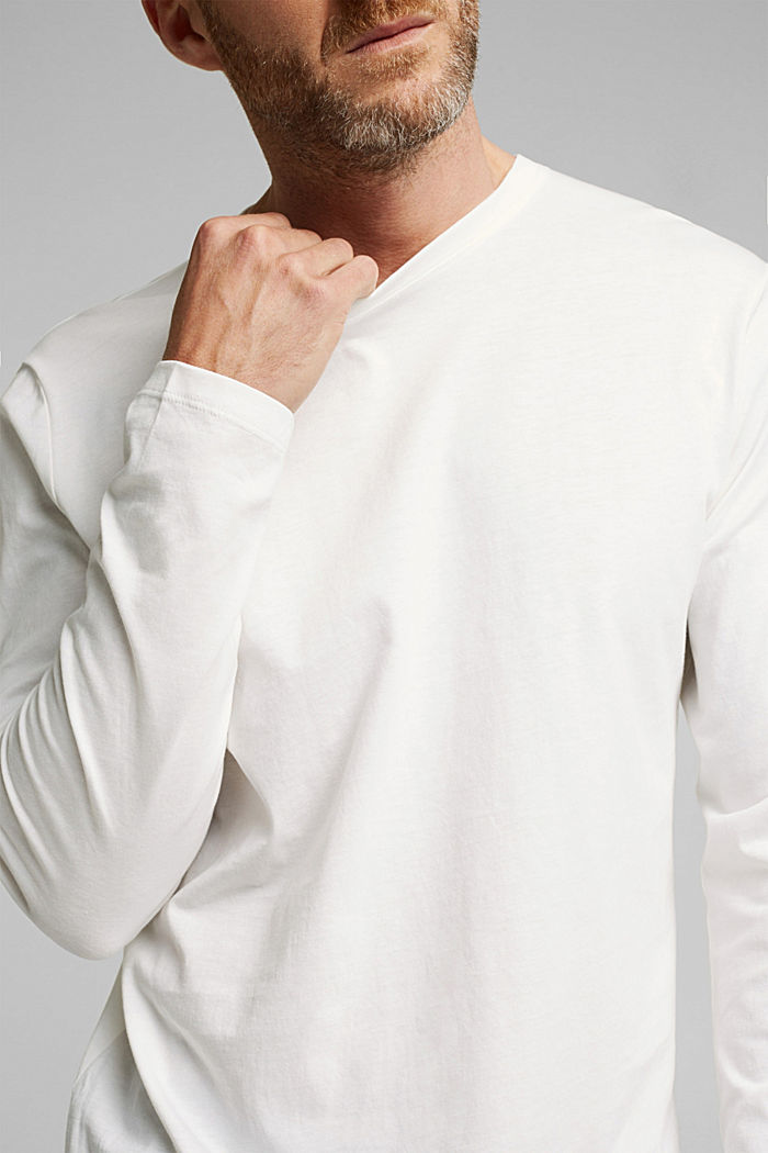 Long sleeve jersey top, 100% organic cotton, OFF WHITE, detail image number 1