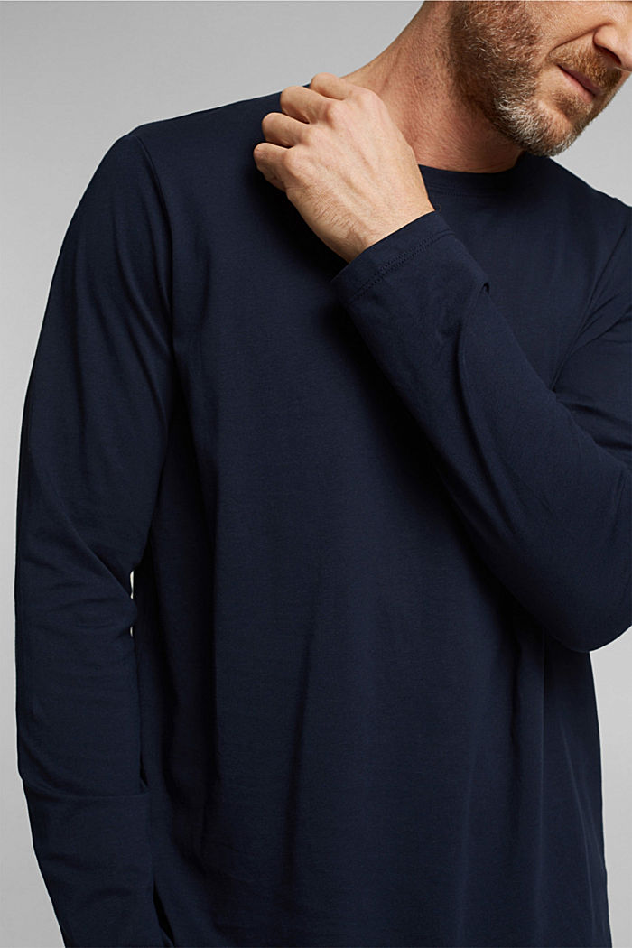 Long sleeve jersey top, 100% organic cotton, NAVY, detail image number 1