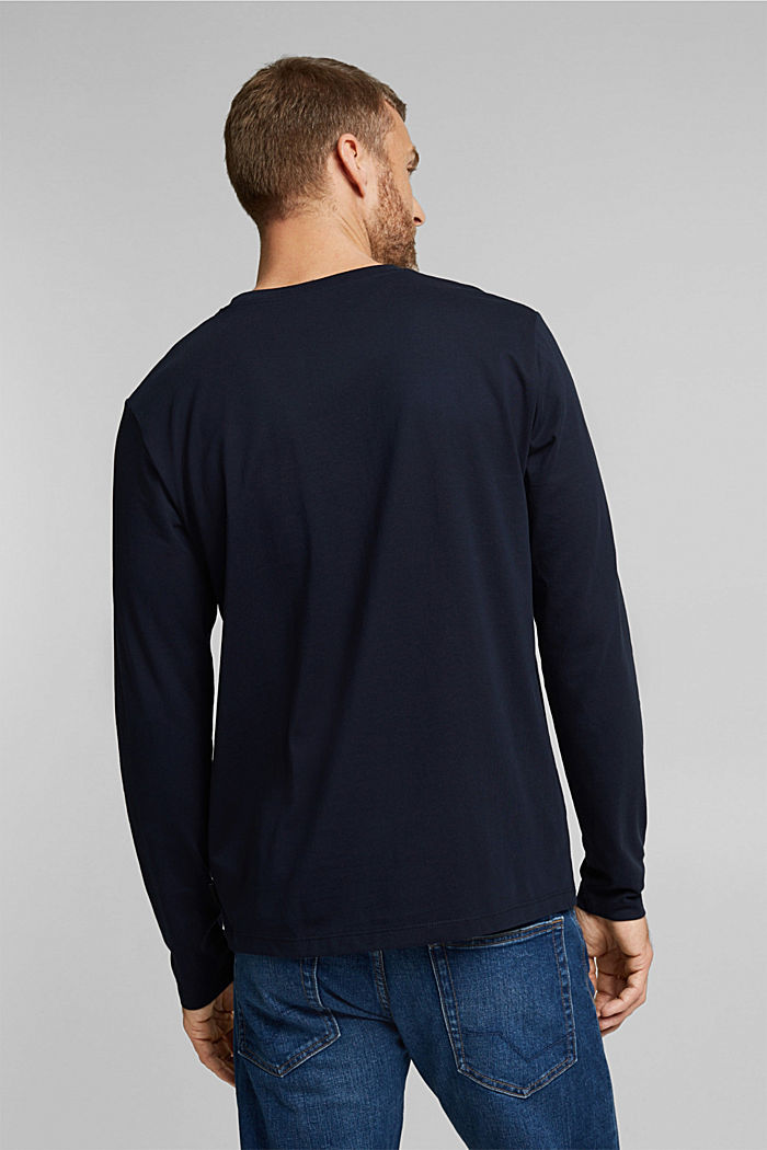 Long sleeve jersey top, 100% organic cotton, NAVY, detail image number 3