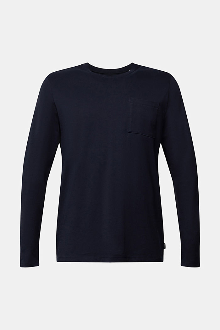 Long sleeve jersey top, 100% organic cotton, NAVY, overview
