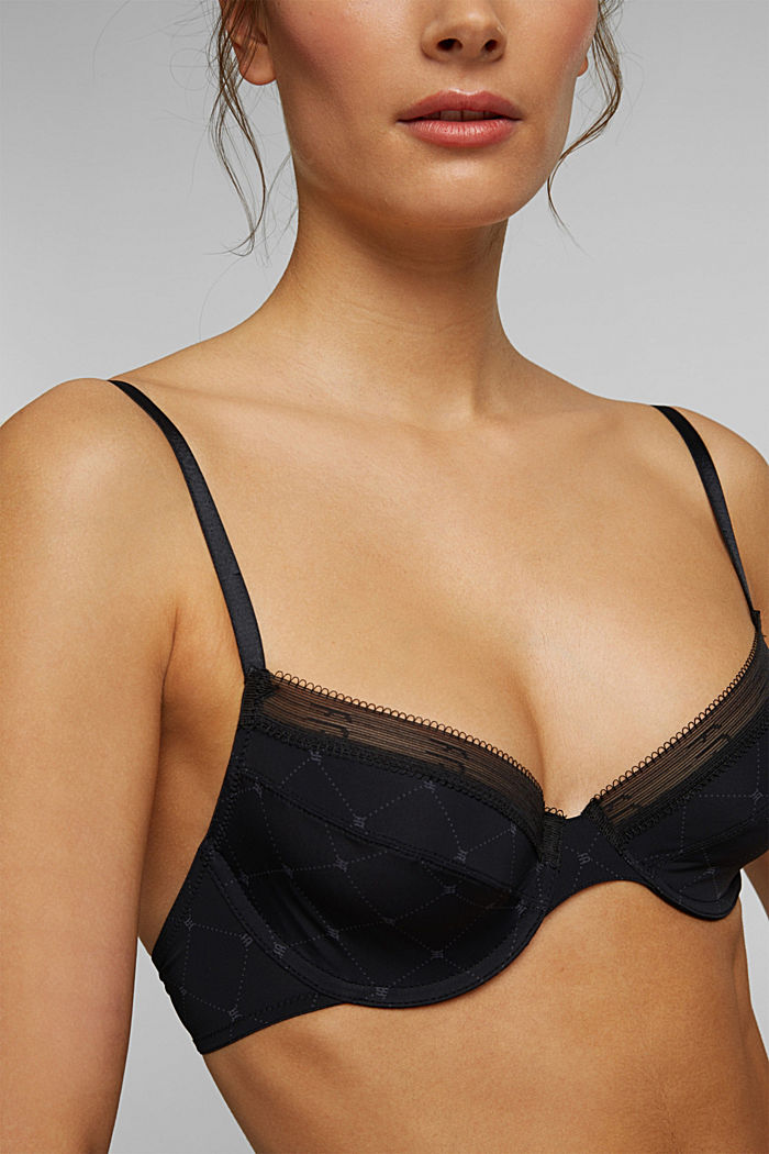 Recycled: Underwire bra with a monogram print, BLACK, detail image number 2