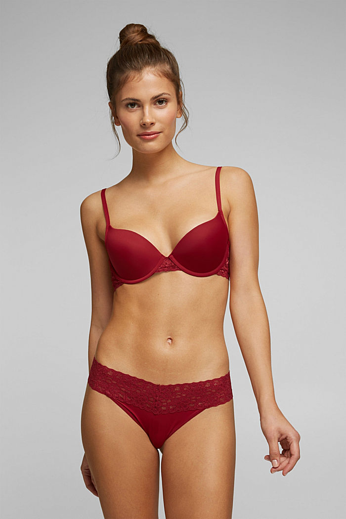 Push-up bra with lace details, DARK RED, detail image number 0