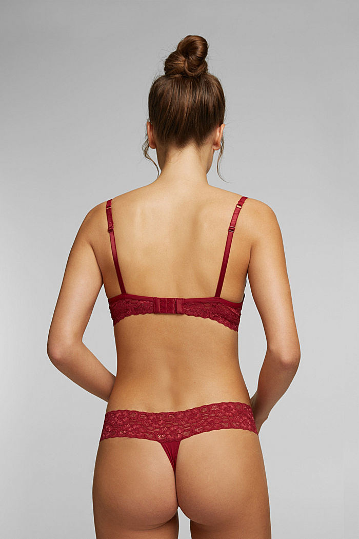 Push-up bra with lace details, DARK RED, detail image number 1