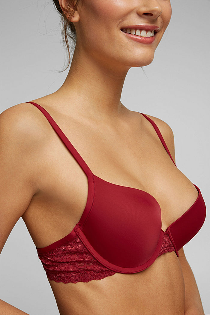 Push-up bra with lace details, DARK RED, detail image number 2