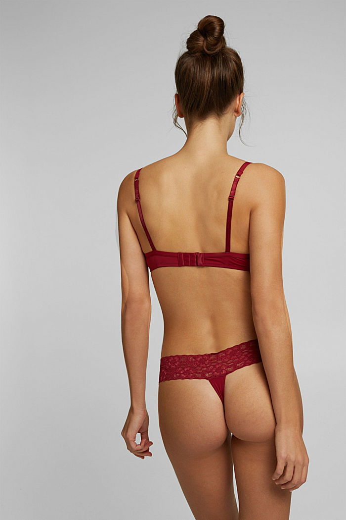 Underwire bra with lace, DARK RED, detail image number 1