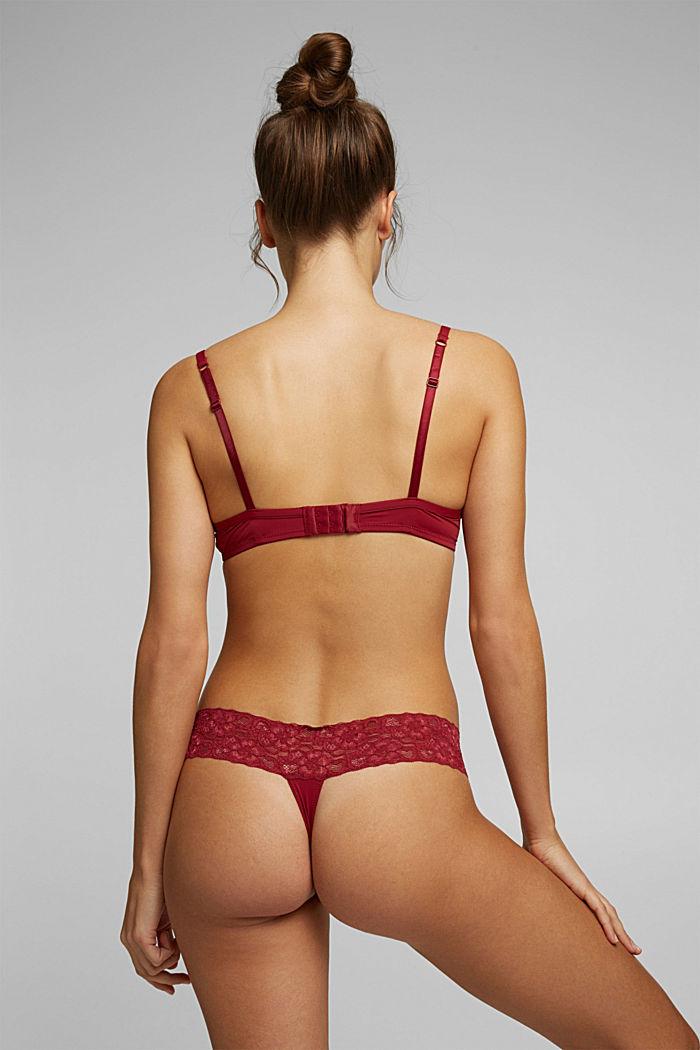Pakke med 2 par hipster-strings med blonder, DARK RED, detail image number 2