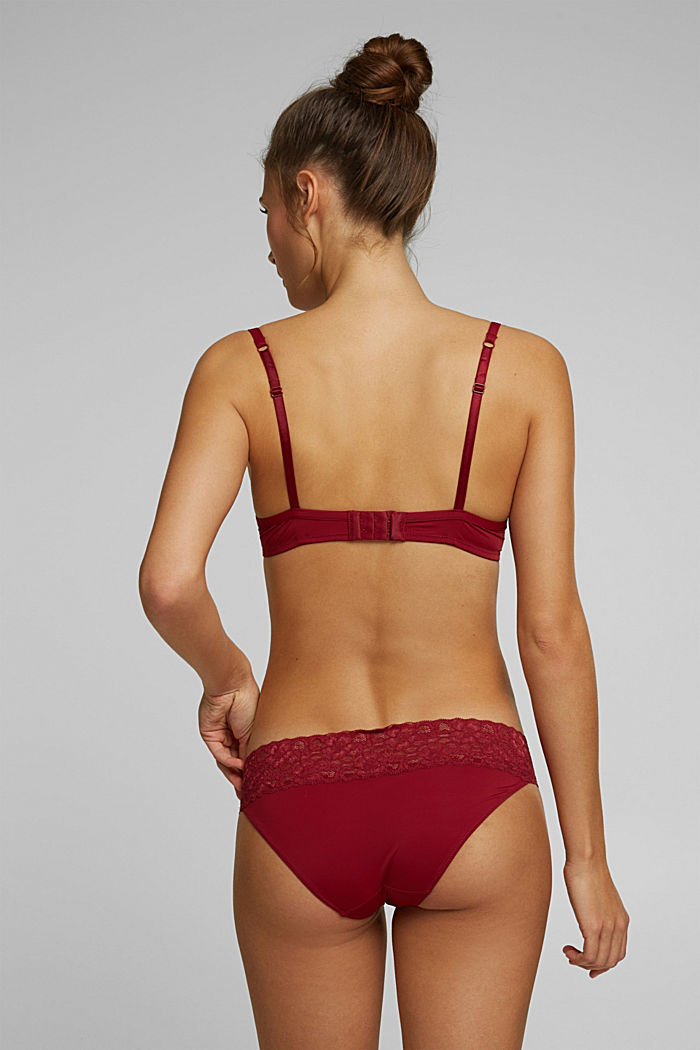 Double pack of hipster briefs trimmed with lace, DARK RED, detail image number 2