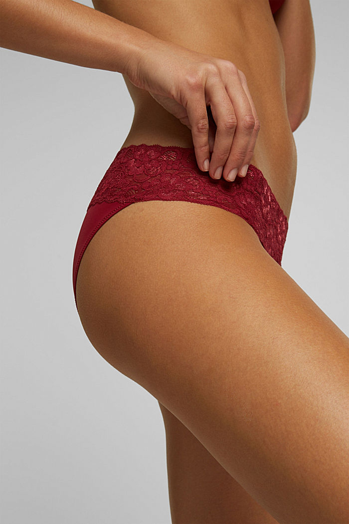 Double pack of hipster briefs trimmed with lace, DARK RED, detail image number 1