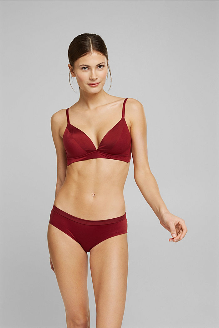 Non-wired bra with padded cups, DARK RED, detail image number 0