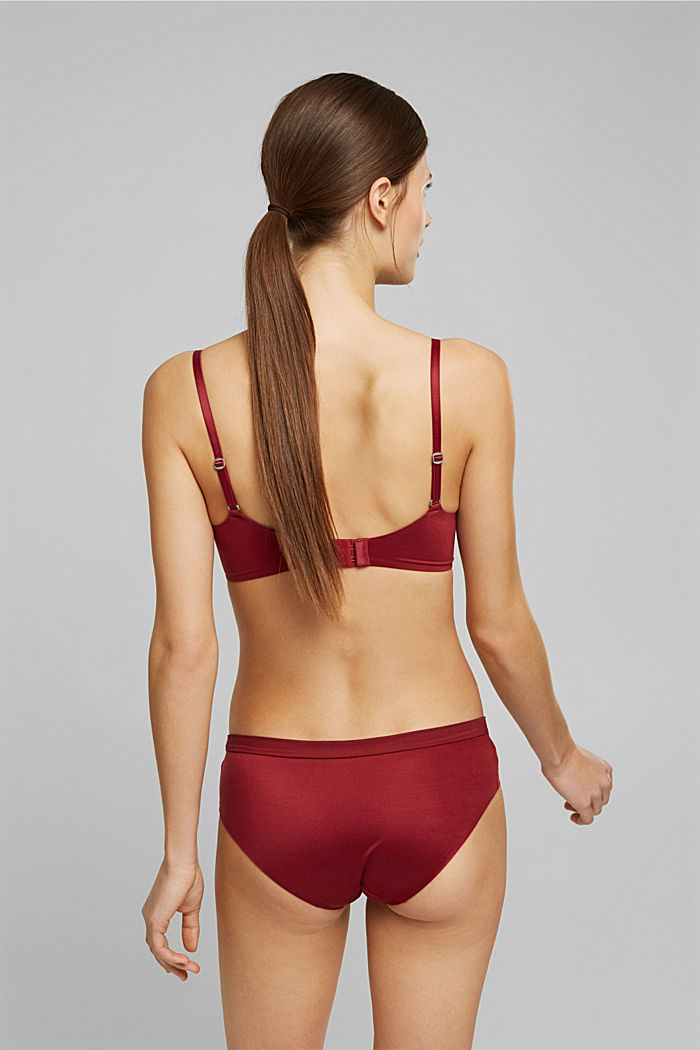 Non-wired bra with padded cups, DARK RED, detail image number 1