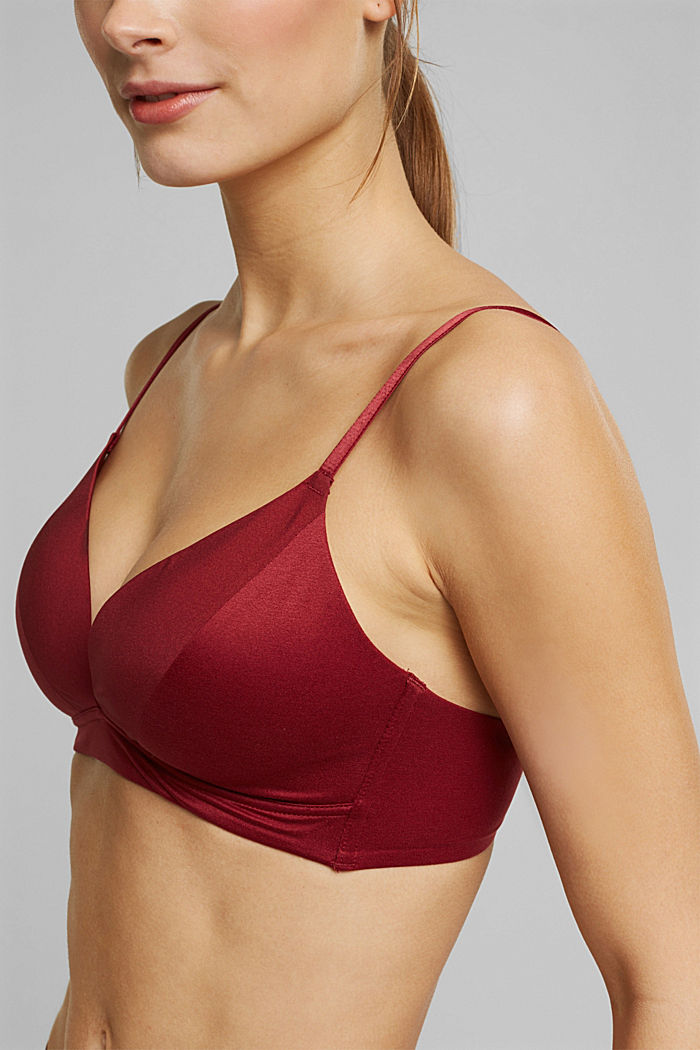 Non-wired bra with padded cups, DARK RED, detail image number 2