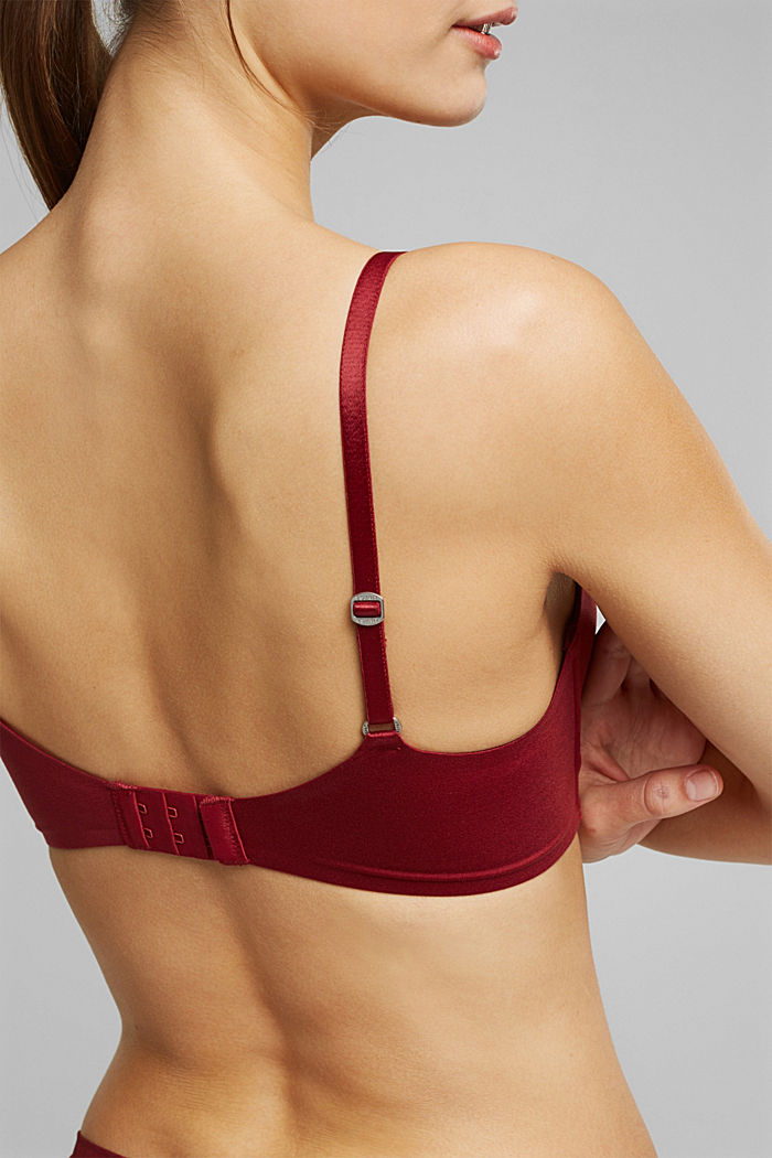 Non-wired bra with padded cups, DARK RED, detail image number 3