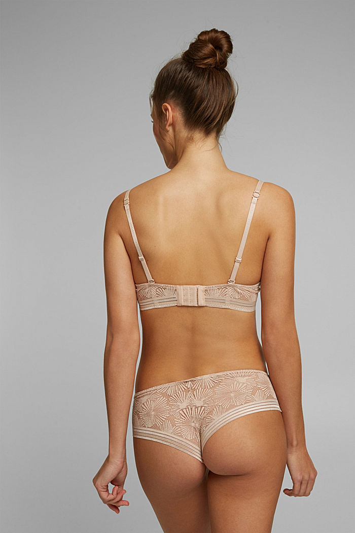 Recycled: padded underwire bra with lace, NUDE, detail image number 1