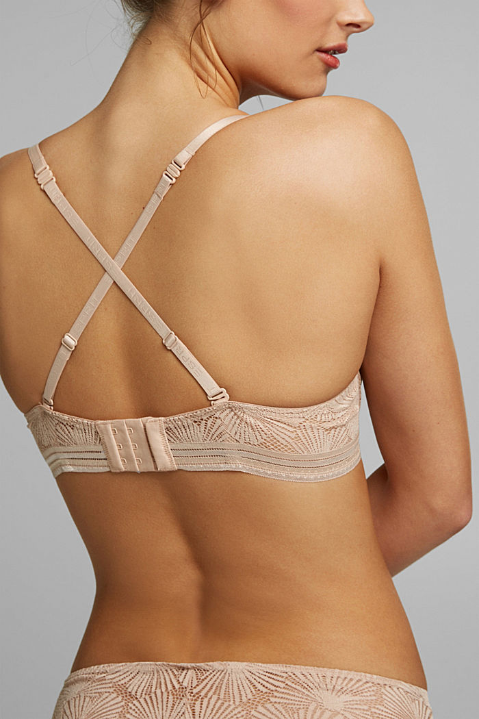 Recycled: padded underwire bra with lace, NUDE, detail image number 2
