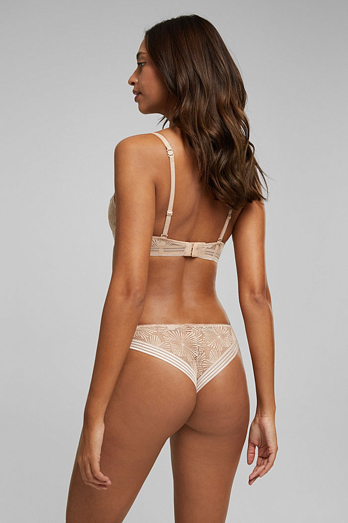 Recycled: underwire bra with lace, NUDE, detail image number 1