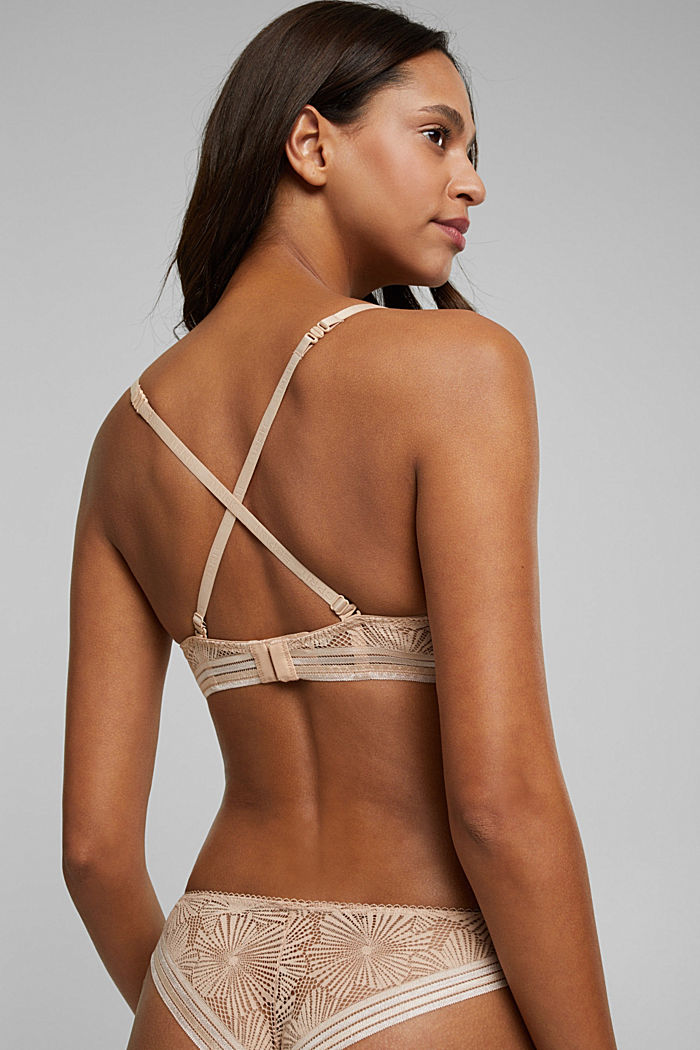 Recycled: underwire bra with lace, NUDE, detail image number 3