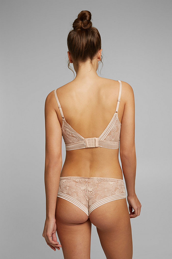 Recycled: Padded bra with lace, NUDE, detail image number 1