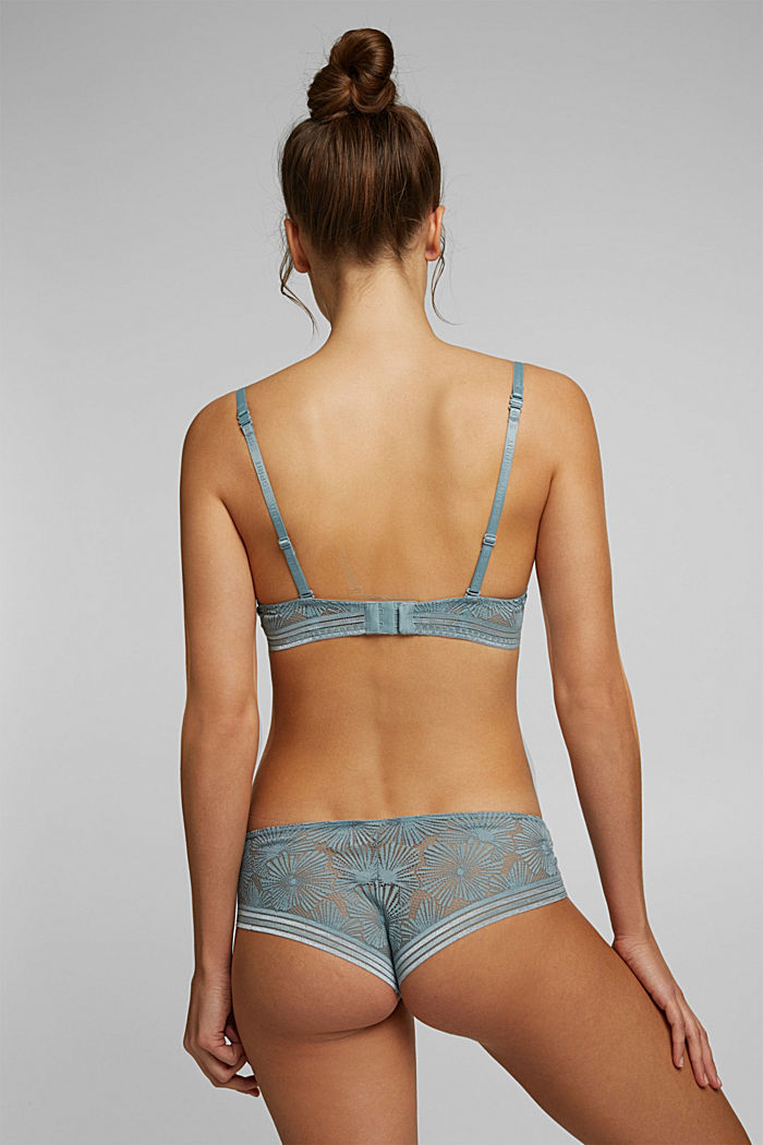 Recycled: underwire bra with lace, TEAL GREEN, detail image number 1