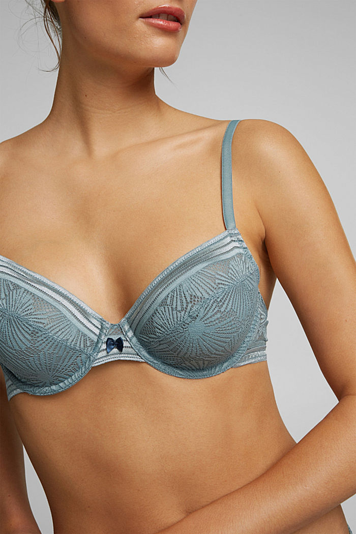 Recycled: underwire bra with lace, TEAL GREEN, detail image number 2