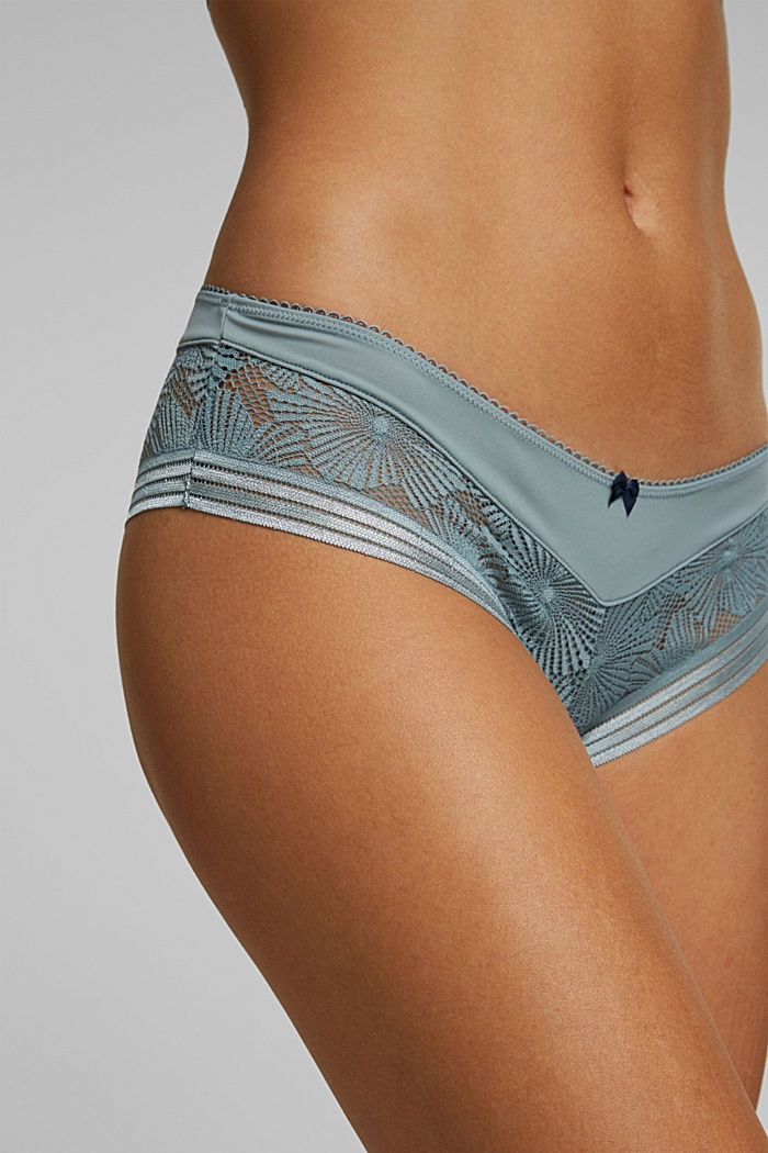Recycled: Hipster shorts with lace, TEAL GREEN, detail image number 2