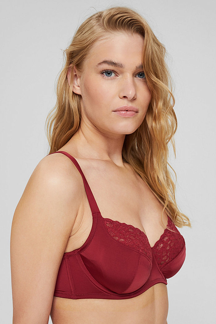 Padded underwire bra with lace, DARK RED, detail image number 0