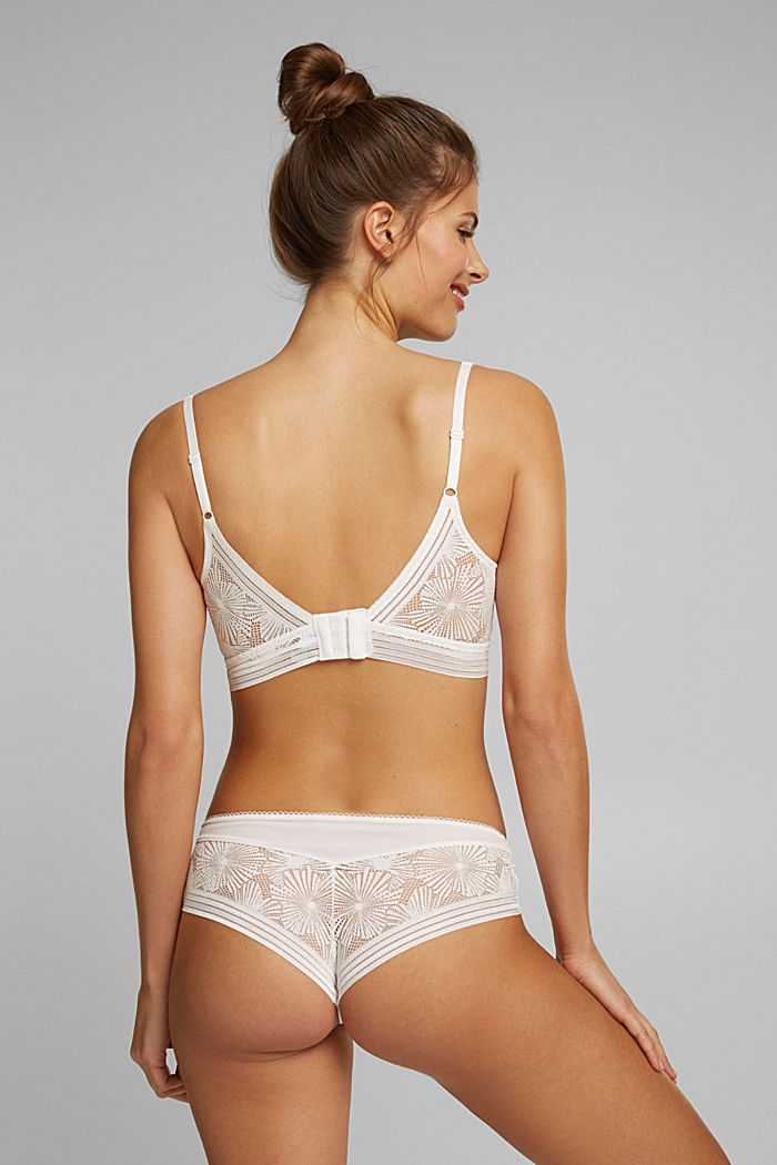 Recycled: Padded bra with lace, OFF WHITE, detail image number 1