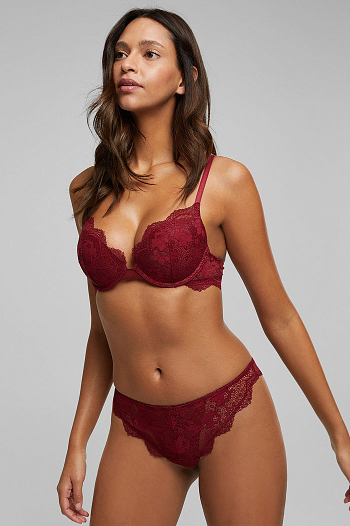 Lace push-up bra, DARK RED, overview