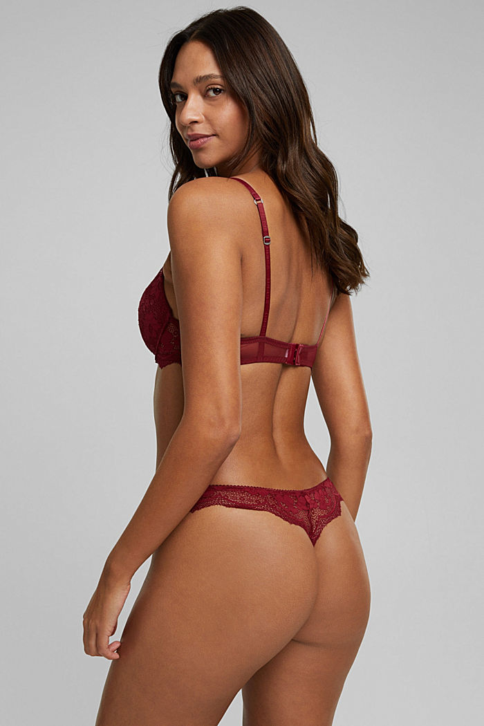 Lace push-up bra, DARK RED, detail image number 1