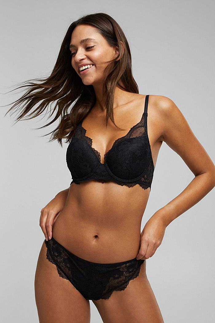 Padded underwire bra in lace, BLACK, detail image number 0