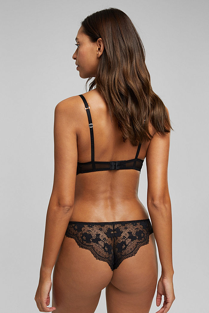 Padded underwire bra in lace, BLACK, detail image number 1