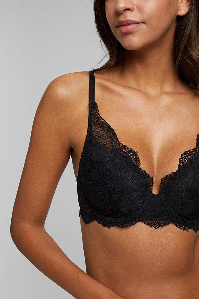 Padded underwire bra in lace, BLACK, detail image number 2