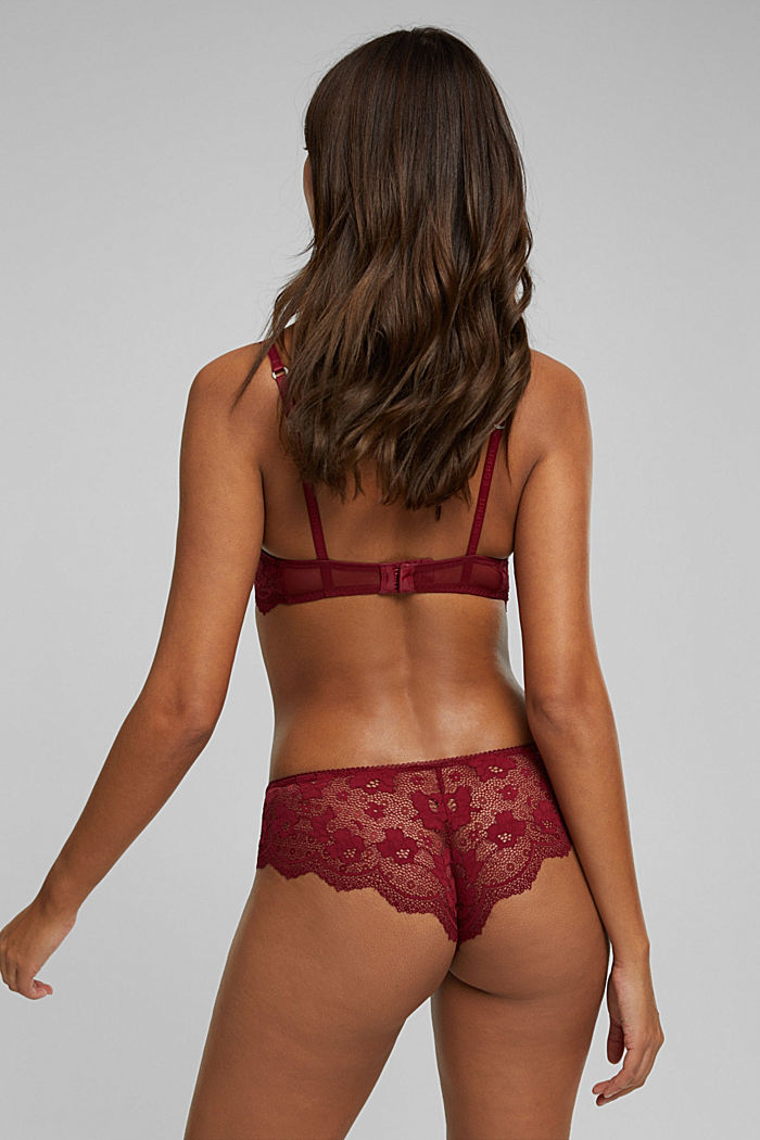 Padded underwire bra in lace, DARK RED, detail image number 1