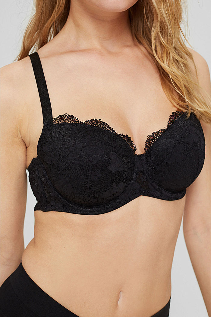 Padded underwire bra in lace for big cups, BLACK, detail image number 3
