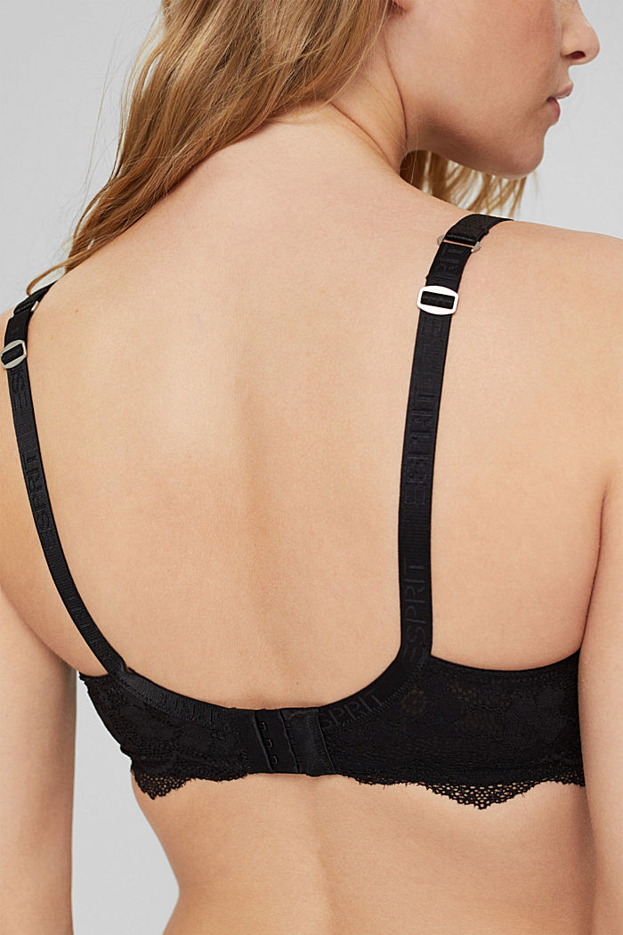 Padded underwire bra in lace for big cups, BLACK, detail image number 4