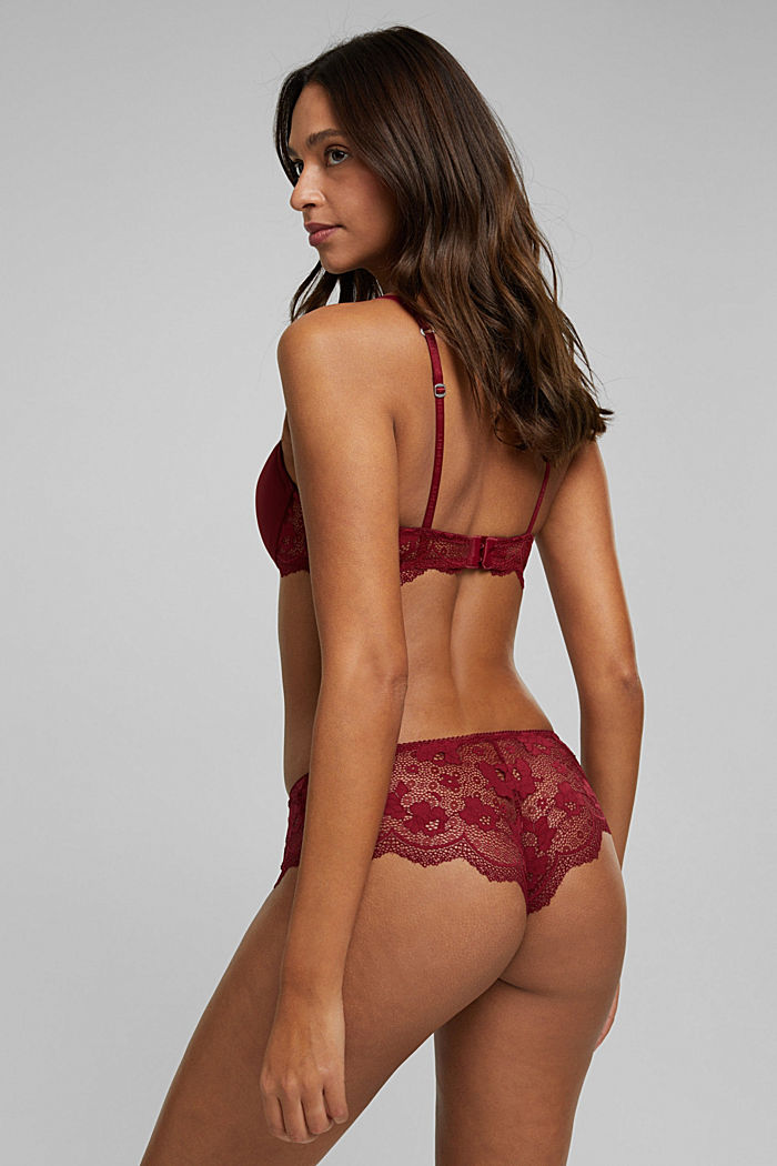 Padded underwire bra with lace, DARK RED, detail image number 1