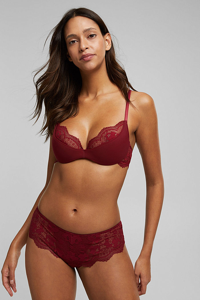 Padded underwire bra with lace, DARK RED, detail image number 2
