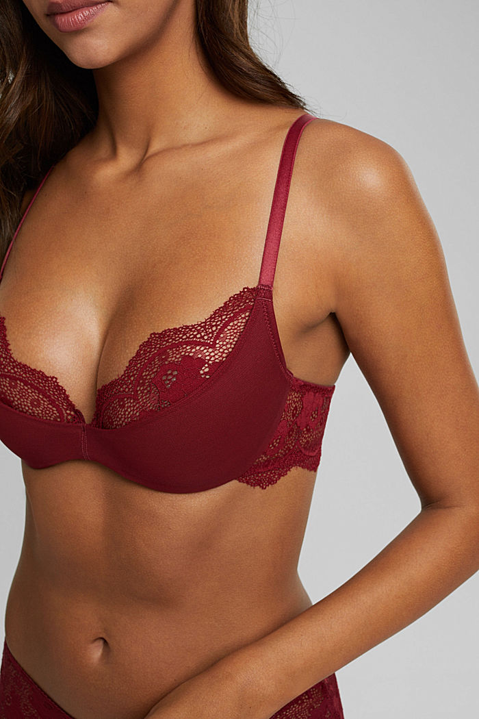 Padded underwire bra with lace, DARK RED, detail image number 3