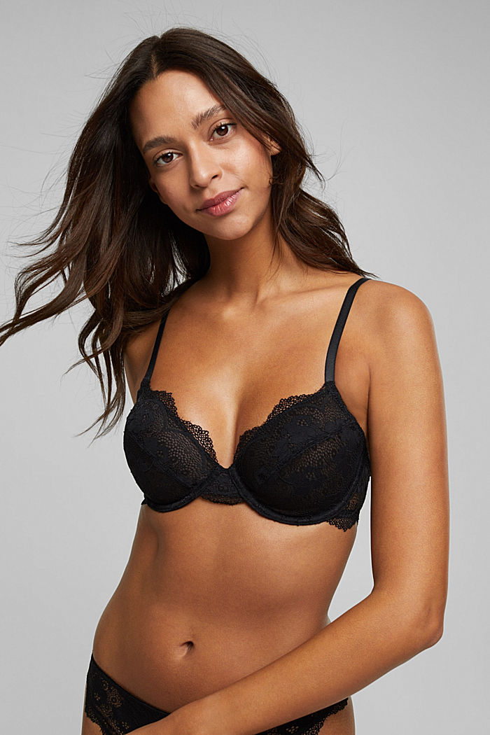 Unpadded underwire lace bra, BLACK, detail image number 0