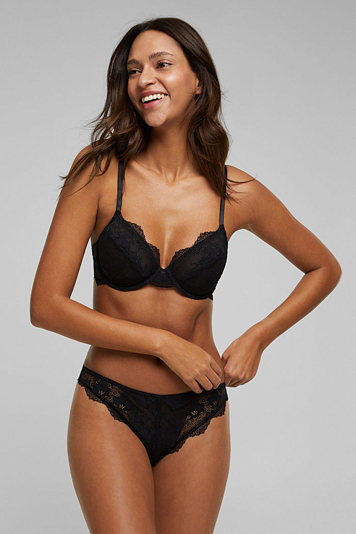 Unpadded underwire lace bra, BLACK, detail image number 2
