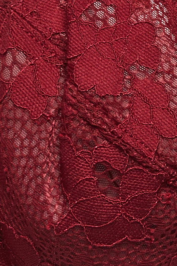 Unpadded underwire lace bra, DARK RED, detail image number 4