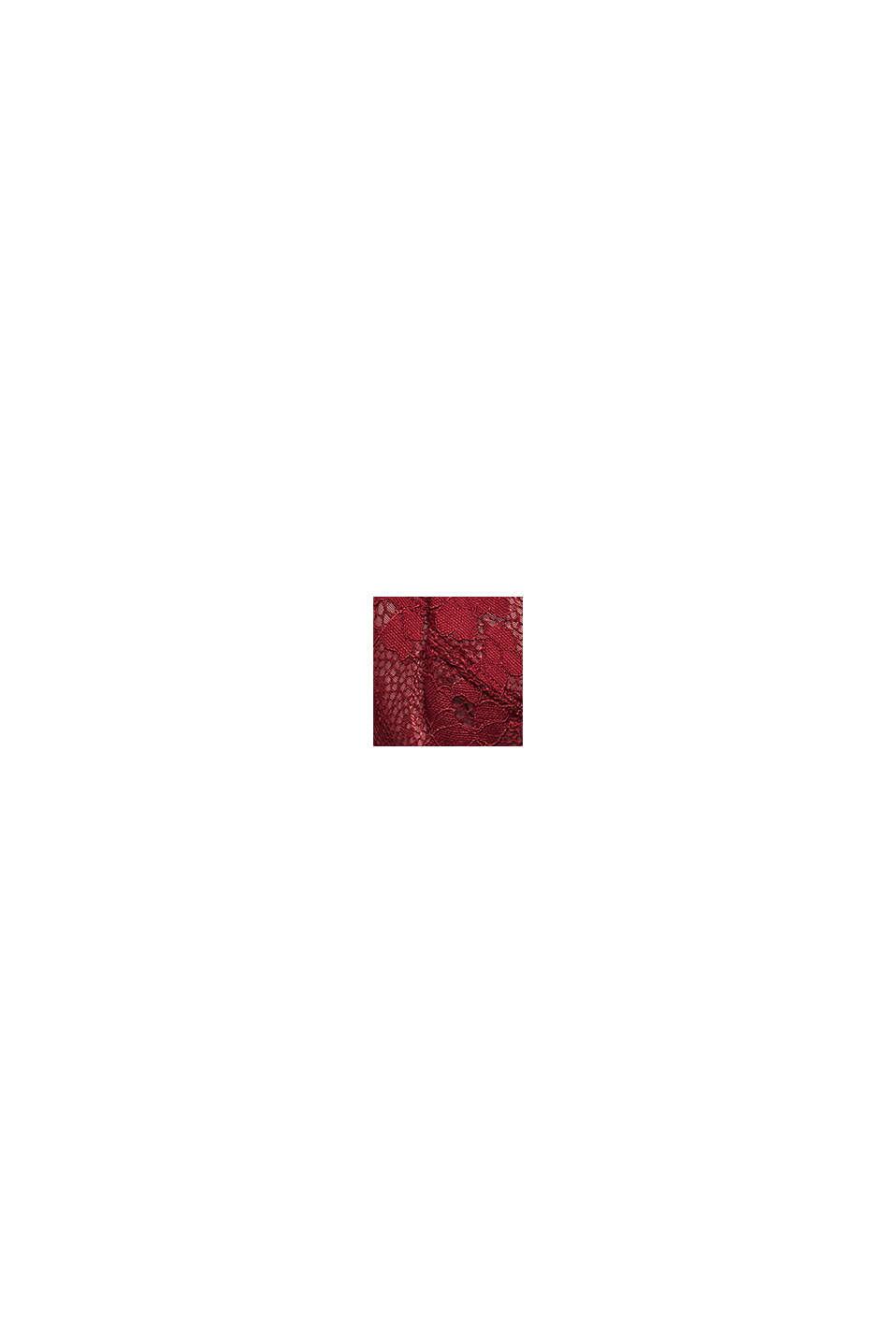 Niewyściełany biustonosz z fiszbinami z koronki, DARK RED, swatch